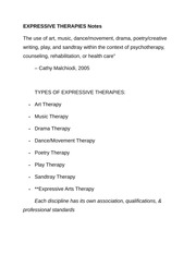 EXPRESSIVE THERAPIES Notes