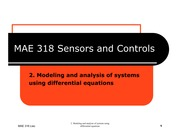MAE 318 - Chapter 02 - Modeling of systems using differential equations
