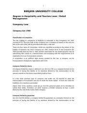 BUC Degree in Hospitality Company Law notes