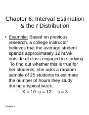 Chapter 6 - Interval Estimation & the t Distribution