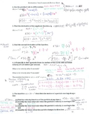 Derivatives Review Sheet Answer Key
