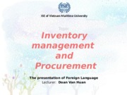 Inventory management and procurement