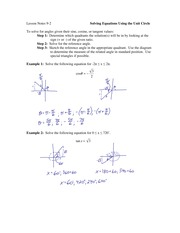 9.2 Solving Equations Using the Unit Circle