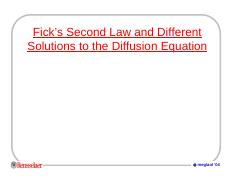 Ficks second and diffusion solutions