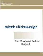 Session 10 LBA - Leadership in Stakeholder Management
