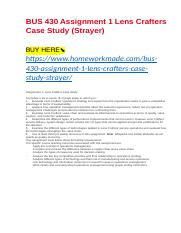 BUS 430 Assignment 1 Lens Crafters Case Study (Strayer).docx