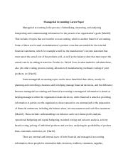 Managerial Accounting Career Paper