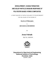 thesis-development characterization and solid particle erosion response of polyster based hybrid com