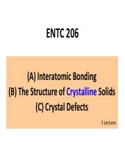 Lecture Notes 3-Crystalline Structure & Defects