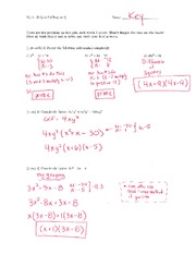 Math 125 Quiz 2 Key On Intermediate Algebra
