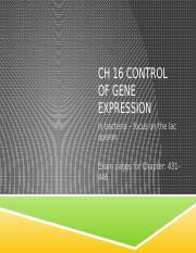 Chapter 16 Part 2  Control of Gene Expression in Prokaryotes  2015.pptx