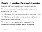 Lecture 10 Notes: Local And Abstraction