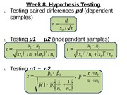 MATH 1P98 Week 8 - Hypothesis Testing differences (Lecture)