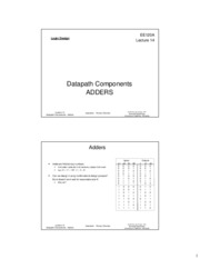 ee120a Lecture 14 - Datapath Components - Adders (Slides 2x1 bw)