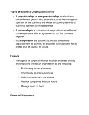 Types of Business Organizations Notes