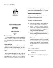 Marine Insurance Act 1909 Extracts