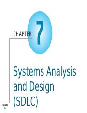 AIS - Chapter 7a - Systems Analysis and Design (SDLC) - Student
