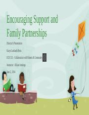 Week 5 - Final Project - Encouraging Support and Family Partnerships