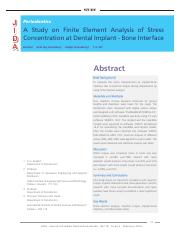 A  Study  on  Finite  Element  Analysis  of  Stress  Concentration at Dental Implant - Bone Interfac