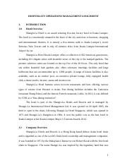 Essay - Hospitality Operations Management 1