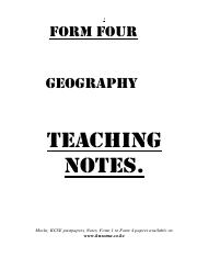 geography notes form 4 pdf - 1 FORM four Geography TEACHing NOTES