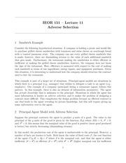 IEOR 151 - Lecture 11, Adverse Selection - Fall 2014