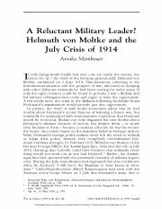 MT Week 2_A Relucant Military Leader - Helmuth von Moltke and the July Crisis of 1914