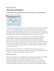 Emerging markets. The Great Slowdown