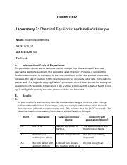 Lab 3 Chemical Equilibrium - LAB REPORT template - CHEM 1002
