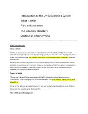 Introduction to the UNIX Operating System