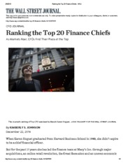 Ranking the Top 20 Finance Chiefs 2014- WSJ