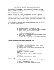 Study Guide for Race Class Gender and Sexuality Test 2 Fall 2015