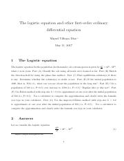 logistic equation problem and other ode 0