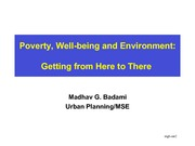 Lecture 5 Poverty, Well-being and Environment