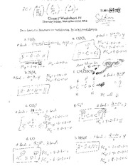 Chem P F14 Worksheet 9 Solutions