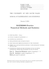 Numerical Methods Practice Exam S1 2012