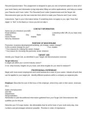 Resume Questionnaire 165 Smith SU17