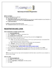 MyCompLab Student Registration Guide for Kolette Draegan
