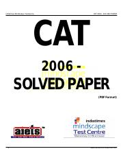 CAT 2006 QP Solved