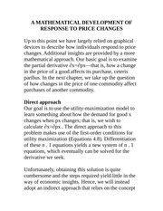 ECON 5100-A MATHEMATICAL DEVELOPMENT OF RESPONSE TO PRICE CHANGES