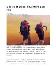 Outdoor Industry India _TOI Sep'15 Article