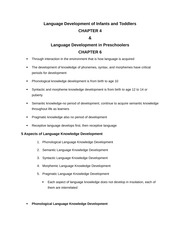 Language Development of Infants and Toddlers and Preschoolers Notes for Final Exam