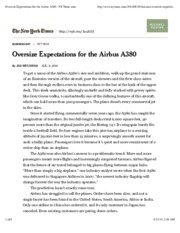 Oversize Expectations for the Airbus A380 - NYTimes.com