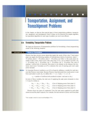 7 Transportation, Assignment, and Transshipment Problems