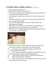 15 specific steps to taking a shower. KORBEN BUUM