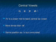 Chapter 11 Central Vowels