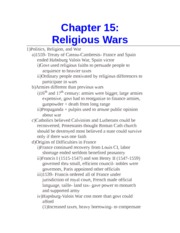 Chapter 15- Religious Wars