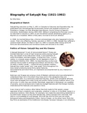 Biography of Satyajit Ray