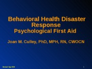 BEHAVIORAL HEALTH  DISASTER RESPONSE(S)