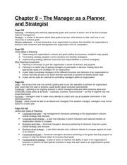 Study Guide - Chapter 8 - The Manager as a Planner and Strategist